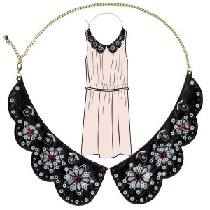 Collars Necklaces - Y031-SQ6724-A. Sequin Collar Necklace