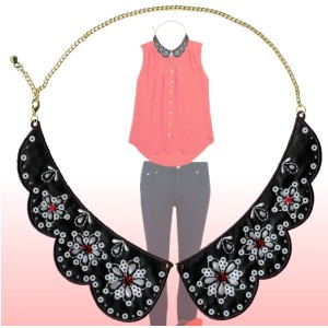 Collars Necklaces - Y031-SQ6724-A. Detachable collar with flower sequin motifs and chain necklace