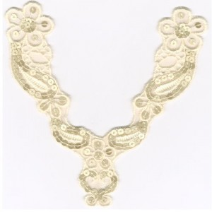 Embroidery Collar Badge - Y031-SQ067-C. Embroidery Sequin trims on mesh lace