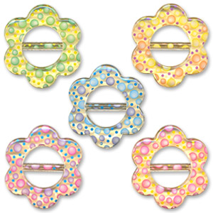 Flower shape slider buckles with transferred motif